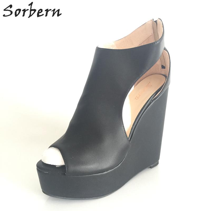 e784fb69b Sorbern Preto Mulheres Sandália Sapatos de Cunha sapatos de Salto ...