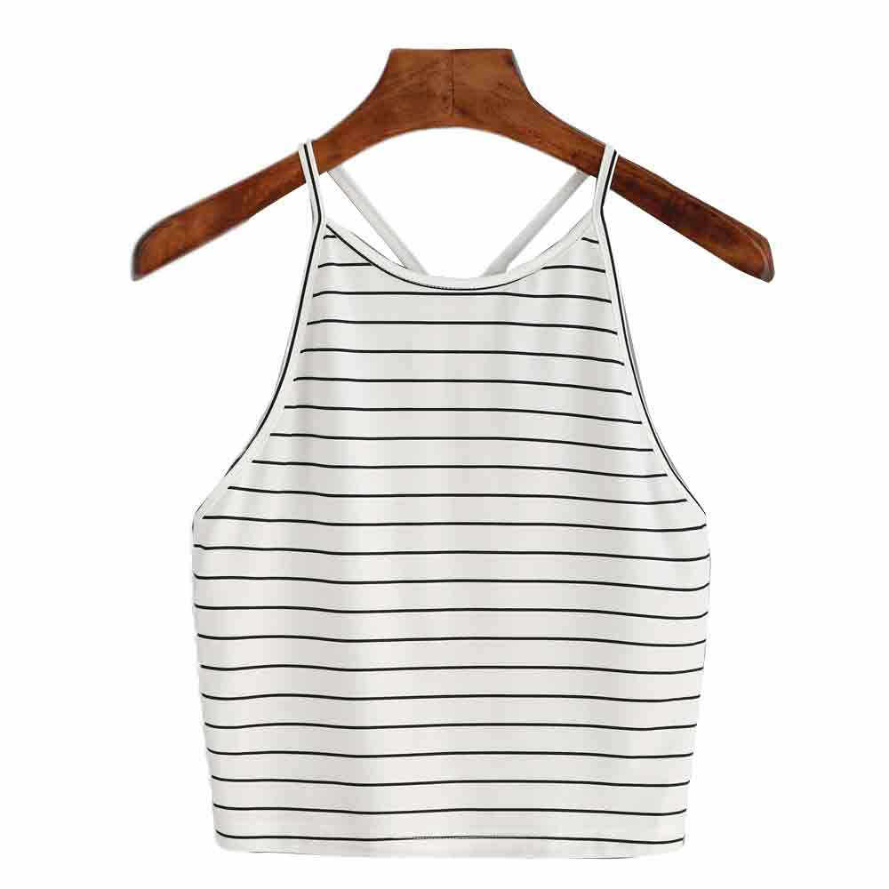 Casual Women Striped Crop Top Summer Ladies Sexy Sleeveless Backless Vest Shirts Tops Women's Fashion Print t-Shirt Cropped #YL5