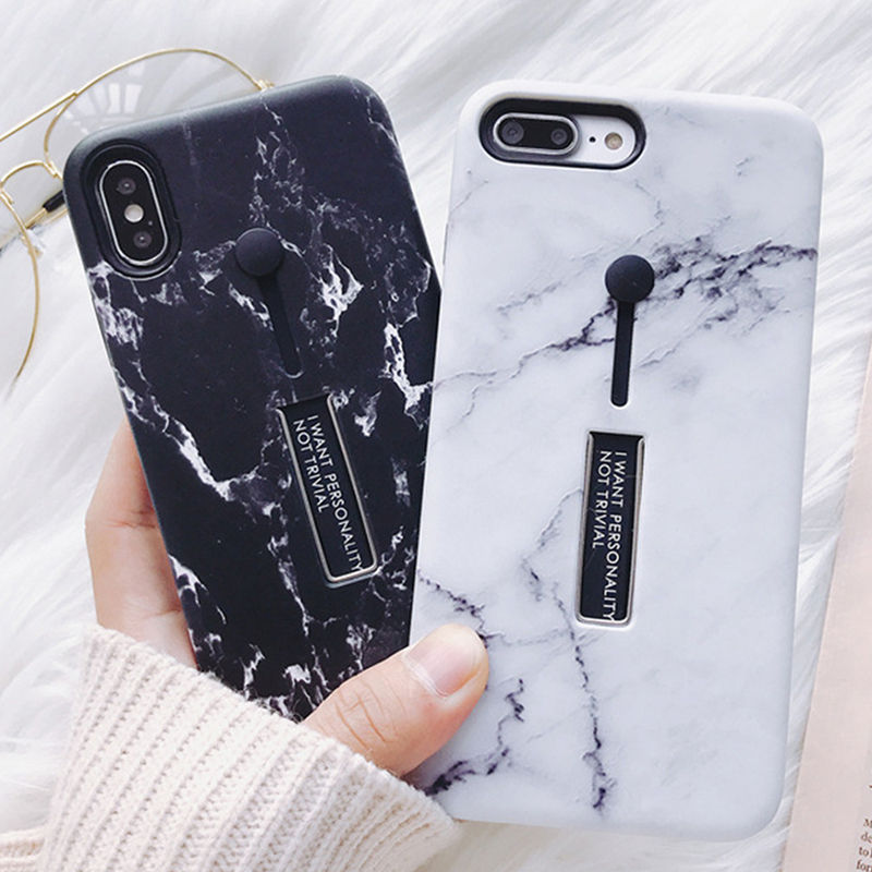 Soft TPU Marble Stone Painting Phone Iphone X 6 6S Plus 7 7Plus 8 8Plus Holder Stand Protection Back Cover