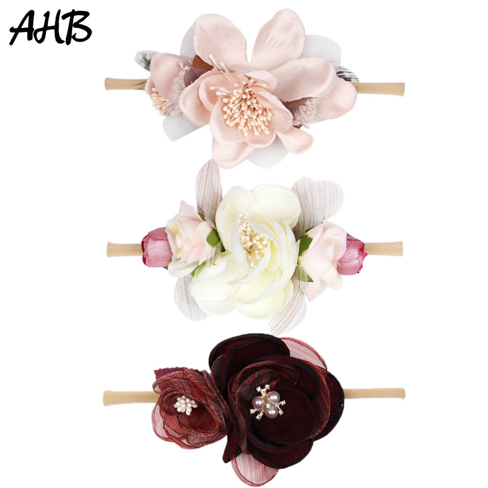 AHB Nylon Headband for Baby Girls Wedding Floral Hair Band Garland Ribbon Bow Artificial Flower Headband Kid Hair Accessories in Hair Accessories from Mother Kids