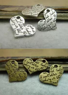 Diy bahan buatan tangan gelang perunggu Kuno perak 15 20mm cinta charms  Perhiasan aksesoris 133dbedc6c