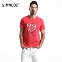 SIMWOOD 2018 Summer New Fashion T Shirt Men Letter Print 100 Cotton Casual Tees Fashion Slim