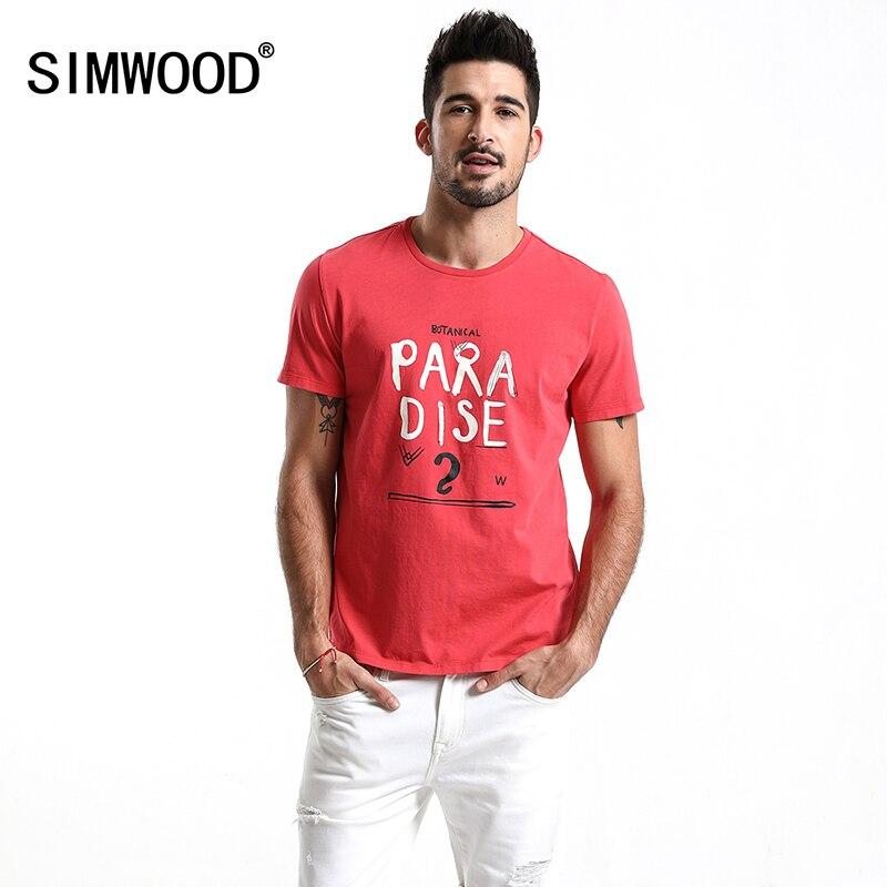SIMWOOD 2018 новые летние модные футболки Для мужчин письмо печати 100% хлопок повседневные футболки мода Slim Fit брендовая одежда топы 180153