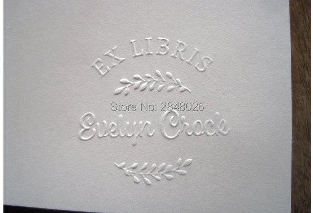 Custom Ex Libri Embosser Stamp Personalized Wedding Wreath Steel