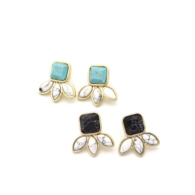 Leaf Black White Green Marble Natural Stone Stud Earrings Geometry Gold Color Brincos Penntes Ear