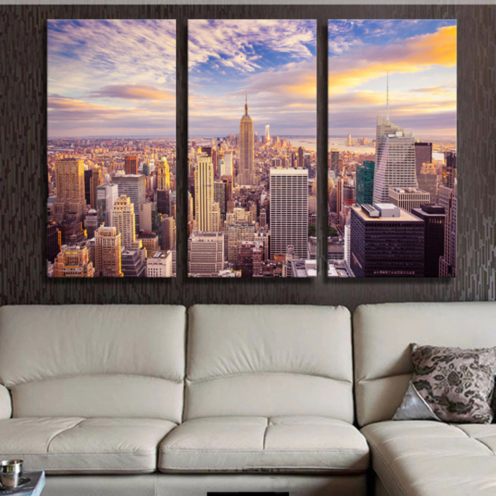 New York City Modern Canvas Painting Print Picture Home: 3 Panels Canvas Print New York One Painting On Canvas Wall