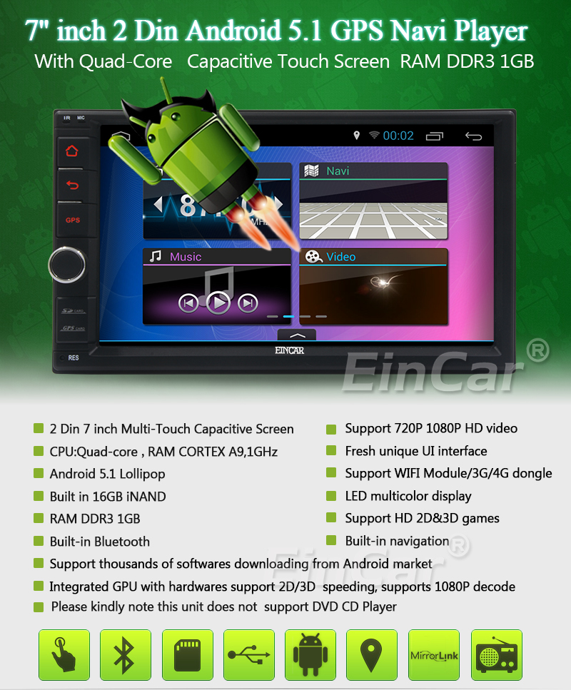 Excellent 2Din Head Unit Android 5.1.1 GPS radio Car Stereo Auto Radio Audio 1080P Video Player Wifi FM Steering Wheel Control+rear Camera 1