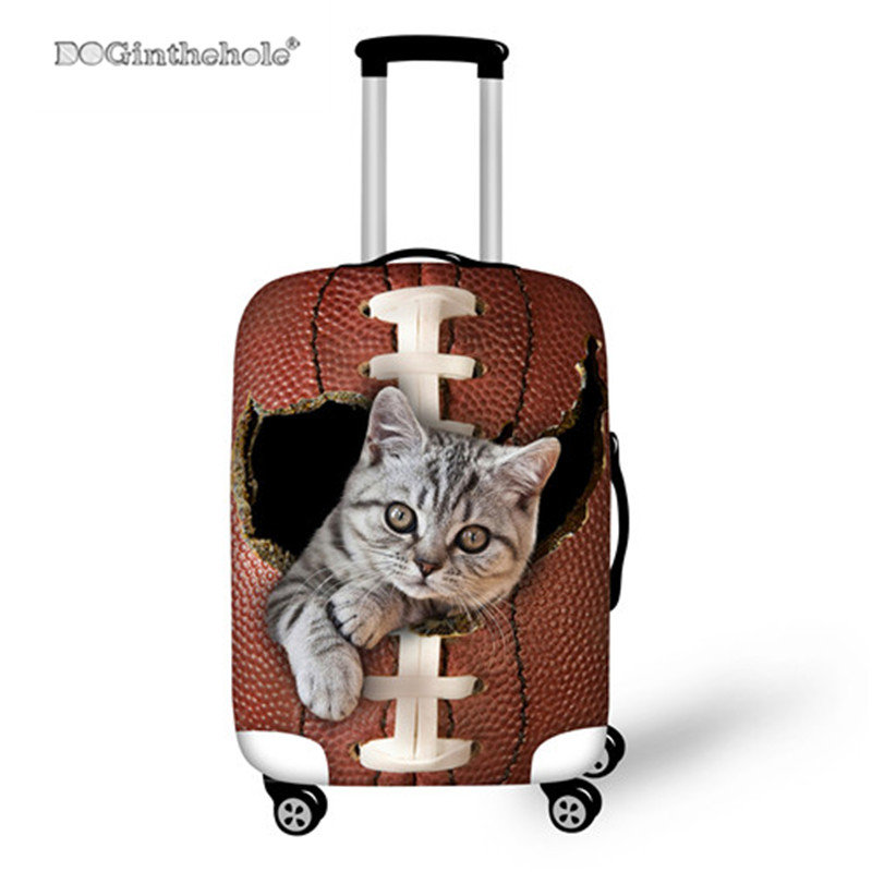 DOGINTHEHOLE Retro Cute Cat Luggage Cover Protective