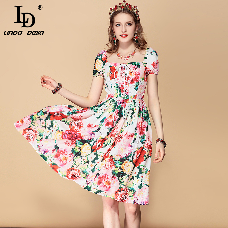 LD LINDA DELLA 2019 Fashion Runway Summer Dress Women s Belted Floral Print Casual Holidays Party