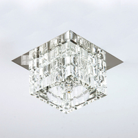 Modern Brief G4 3W Square Crystal stainless steel Ceiling Lamp home decoration Hallway Living Room LED lighting AC85 265V