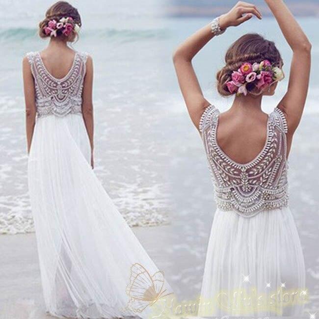 20 Elegant Simple Wedding Dresses Of 2015: Elegant V Neck Pearl And Crystal Beaded Chiffon Wedding