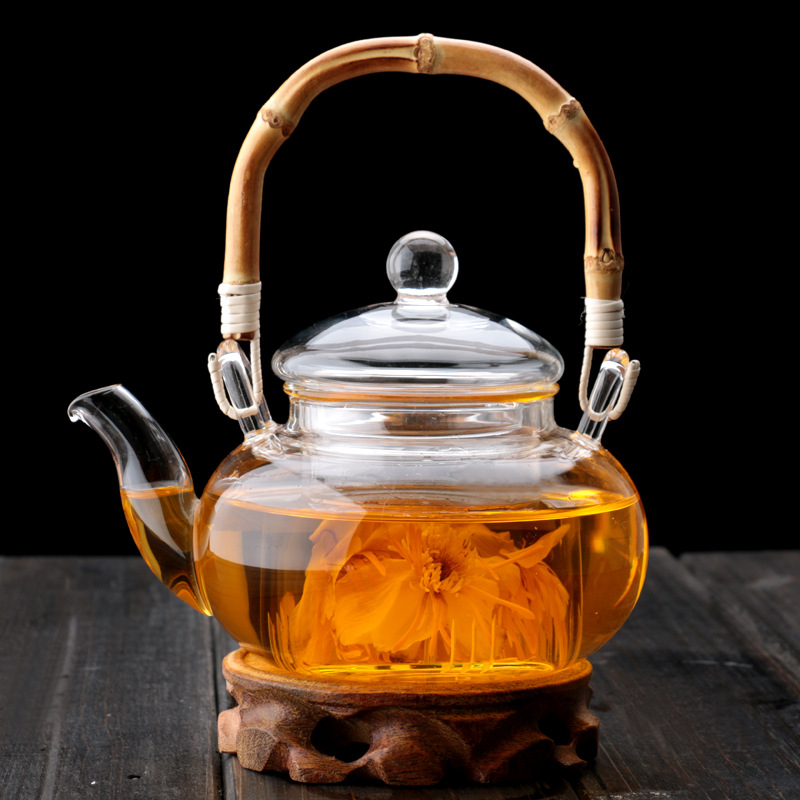 pindefang bamboo handle 600ml blooming loose leaf teapot. Black Bedroom Furniture Sets. Home Design Ideas