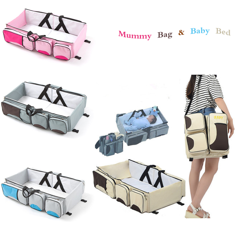 Fashion Portable Large Capacity Multifunction Foldable Mummy Maternity Backpack Outdoor Travel Baby Crib Bed For Baby Care
