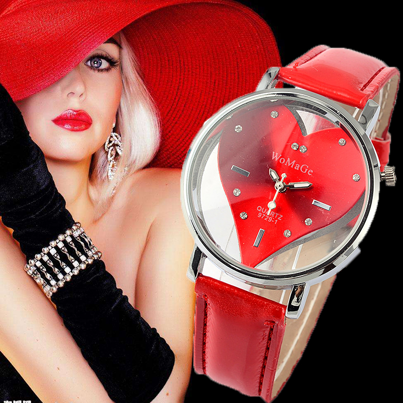 Women WoMaGe Brand Watch Red Heart Design Watches Fashion Leather WristWatch Female saat Relojes relogio feminino