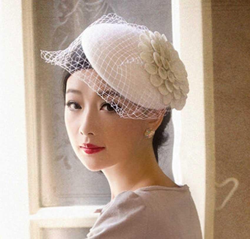Buy 3pcs Lot Women White Wool Veil Fascinators British Pillbox Hats for Ladies  Small Racing Hat Cocktail Party Black Flower Caps 889e028633f