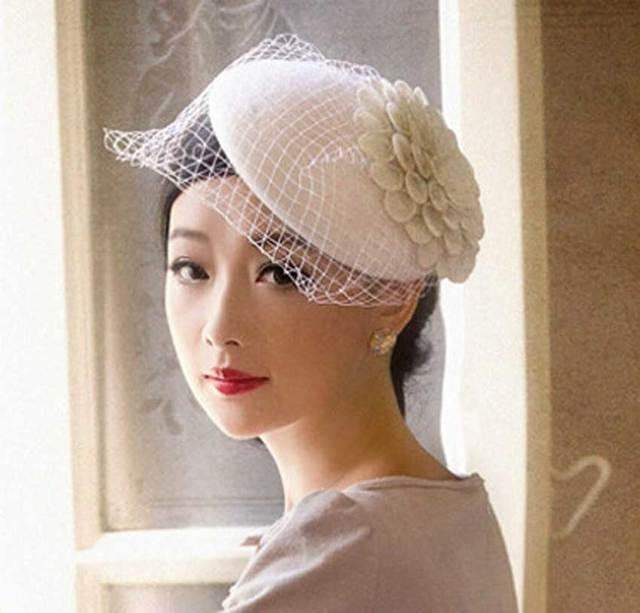 Buy 3pcs Lot Women White Wool Veil Fascinators British Pillbox Hats for  Ladies Small Racing Hat Cocktail Party Black Flower Caps fcd5f03ef22