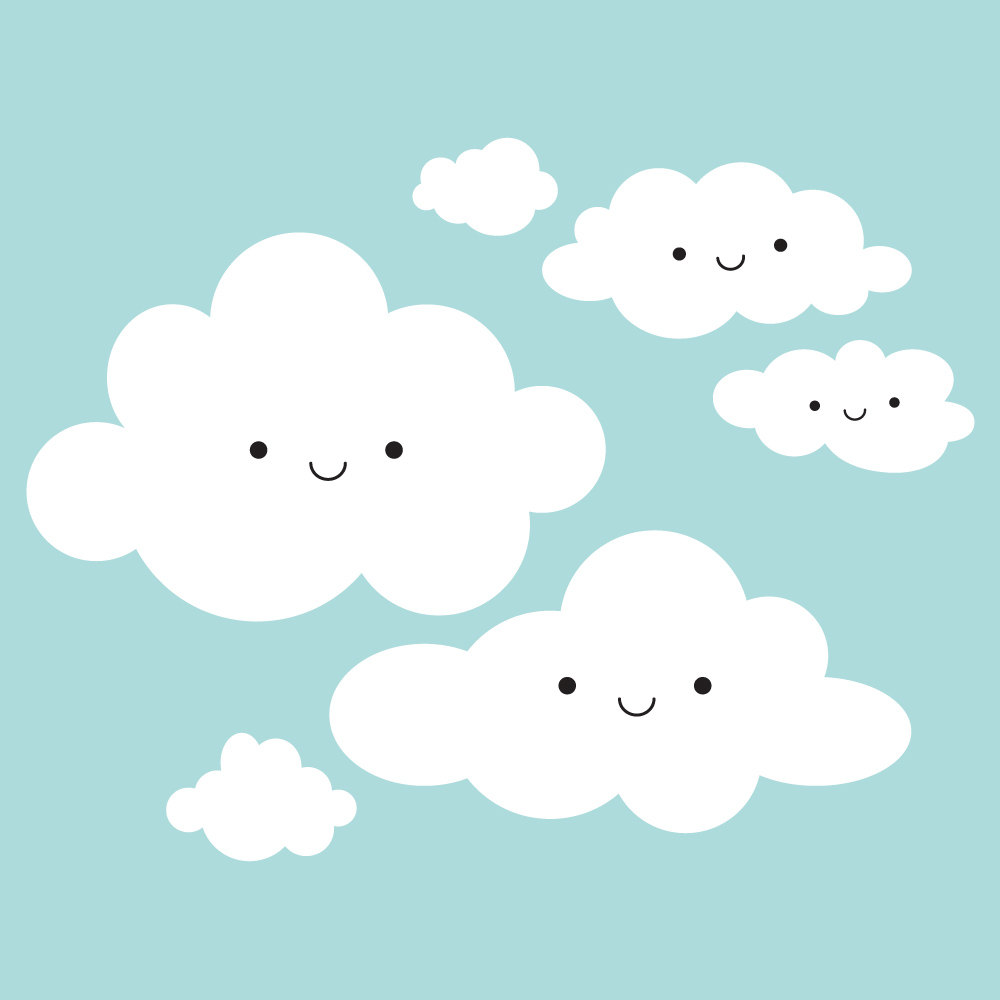 Happy Smiley Face White Clouds Wall Stickers For Kids Room Cute Baby
