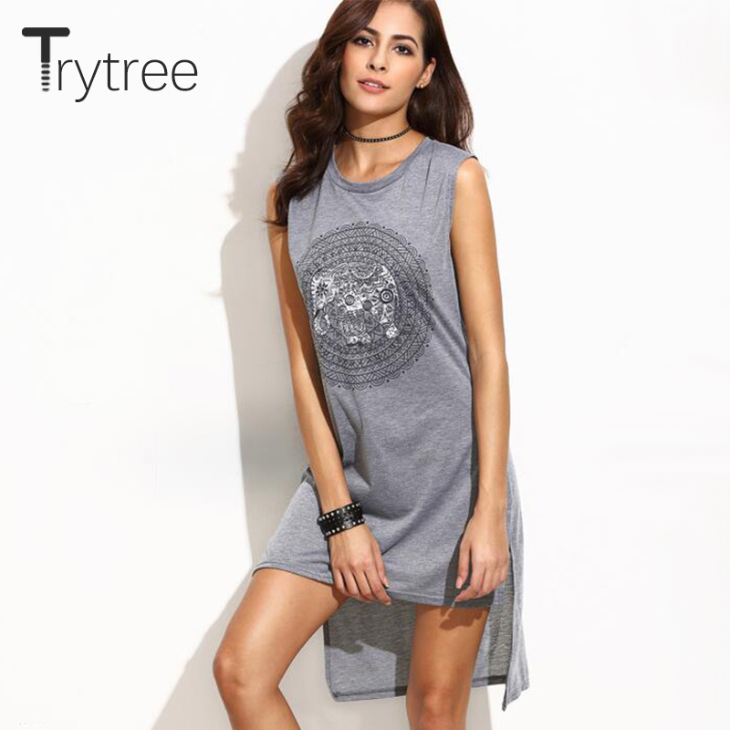 Trytree 2018 Summer Dress Cotton Women Print sexy Dress Sleeveless Short unice Dress Casual vestidos Dresses kyliejenner ...