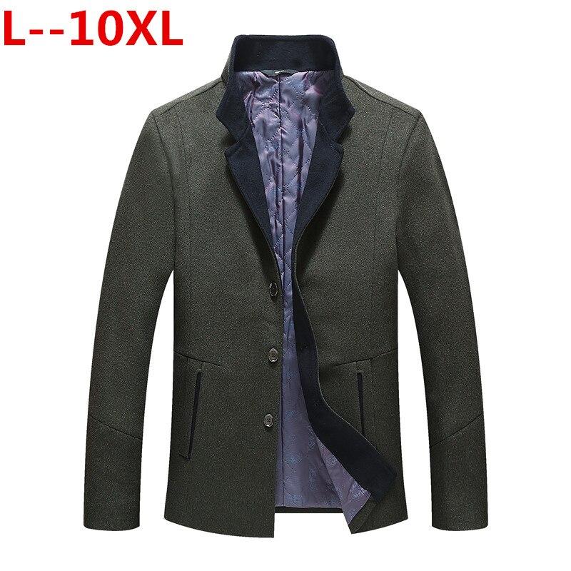 Abrigo de invierno de talla grande 10XL 8XL 6XL para hombre, ropa de marca a la moda, abrigo grueso y cálido de lana para hombre