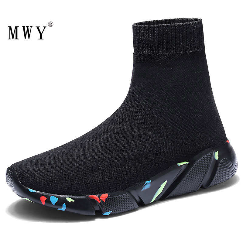 MWY New Stretch Sock Shoes Woman Flats Breathable Sneakers Shoes High Top Slip On Women Casual Shoes Zapatos Mujer schoenen slip-on shoe