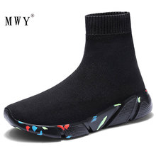 MWY New Stretch Sock Shoes Woman Flats Breathable Sneakers Shoes High Top Slip On Women Casual Shoes Zapatos Mujer schoenen