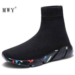 Image 1 - をmwy新ストレッチ靴下靴女性フラット通気性スニーカーの靴高トップ女性カジュアルシューズzapatos mujer schoenen