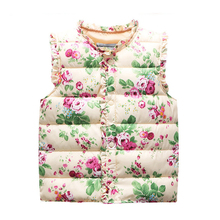 Winter Autumn Flower Vest Kids Baby Girls Windbreaker Jacket Cotton Coats Warm Vest Children Outerwear Coats