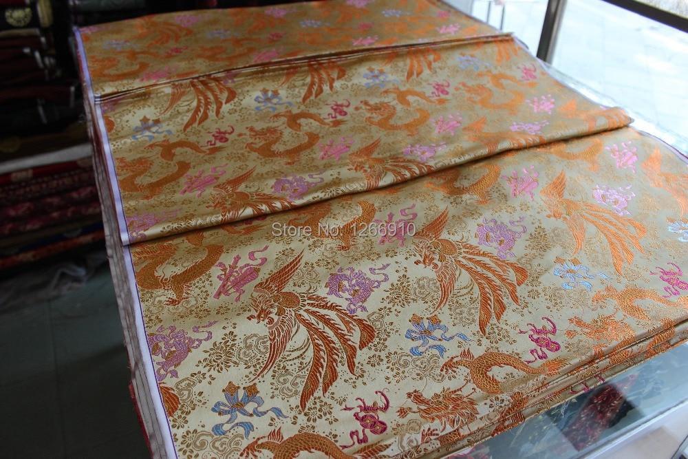 39929038d chinese silk brocade woven damask damask fabric cheongsam cushion light  yellow back dragon Phoenix Double fish Basho fan Sword