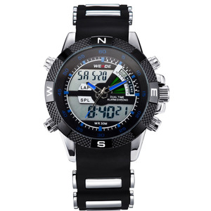 Image 3 - 2019 WEIDE Watches Mens Casual Watch Multifunction LED Watches Dual Time Zone With Alarm Sports Waterproof Quartz Wristwatches
