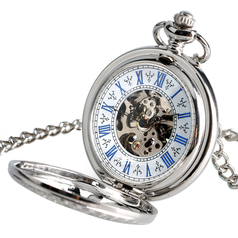 Sun Transparent Skeleton Pocket Watch Silver Steampunk Necklace Chain Self Winding Exquisite Luxury Fob Automatic Mechanical old antique bronze doctor who theme quartz pendant pocket watch with chain necklace free shipping