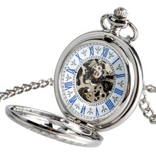 Sun Transparent Skeleton Pocket Watch Silver Steampunk Necklace Chain Self Winding Exquisite Luxury Fob Automatic Mechanical
