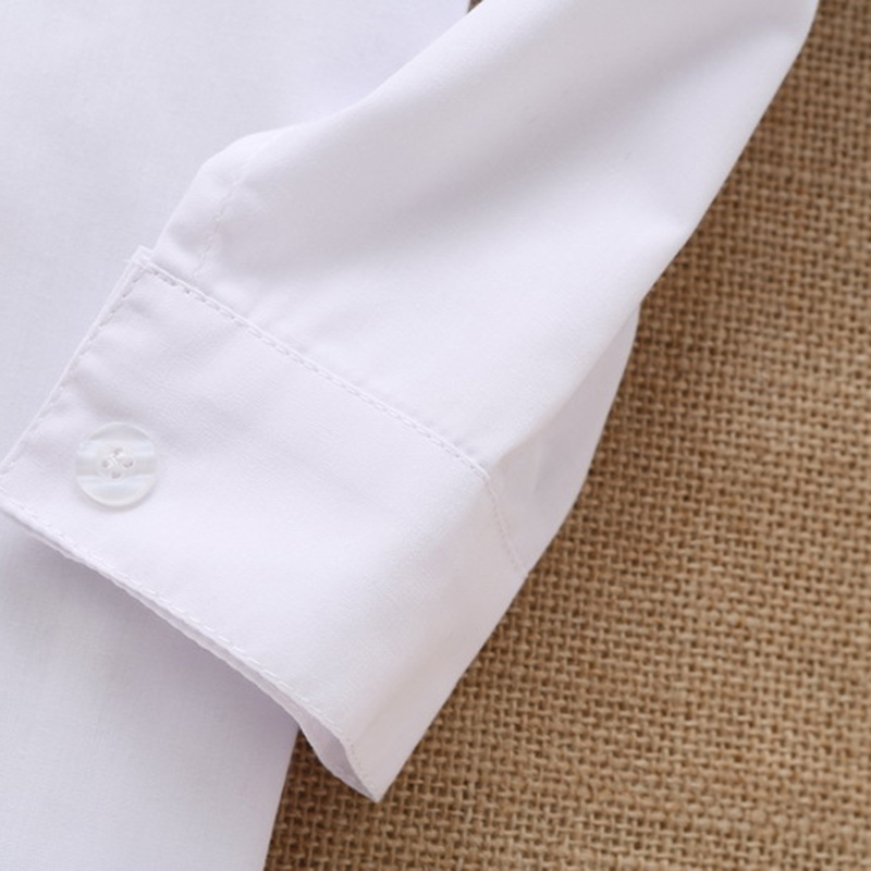 boys Solid white Shirts cotton Blouses for children cute gift 2214