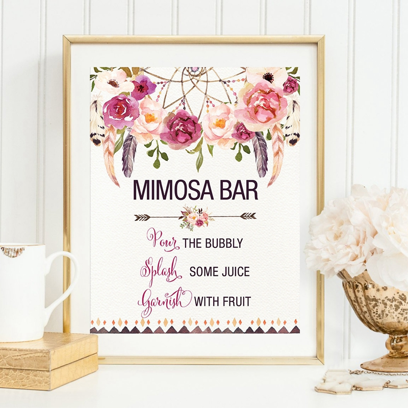 6614be1129ffe6 MIMOSA BAR Bohemian Bridal Shower Sign Canvas Art Print Poster Watercolor  Floral Dreamcatcher Painting Bridal Shower