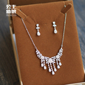 Korean bride jewelry zircon alloy crystal necklace earrings set wedding jewelry simple wedding clavicle chain