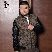 Free shipping ! Men's winter fashion fertilizer to increase code printing Leather stitching lint Jacket / M-XXL