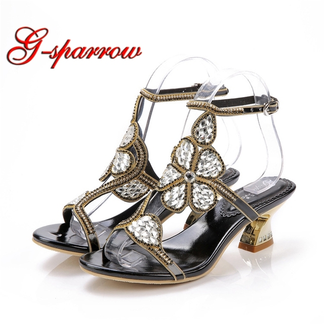 7e04d14d999 2018 Rhinestone Wedding Sandals Slingback Party Dancing Shoes Chunky Heel 2  Inches Summer Dress Shoes Black Gold Color Plus Size