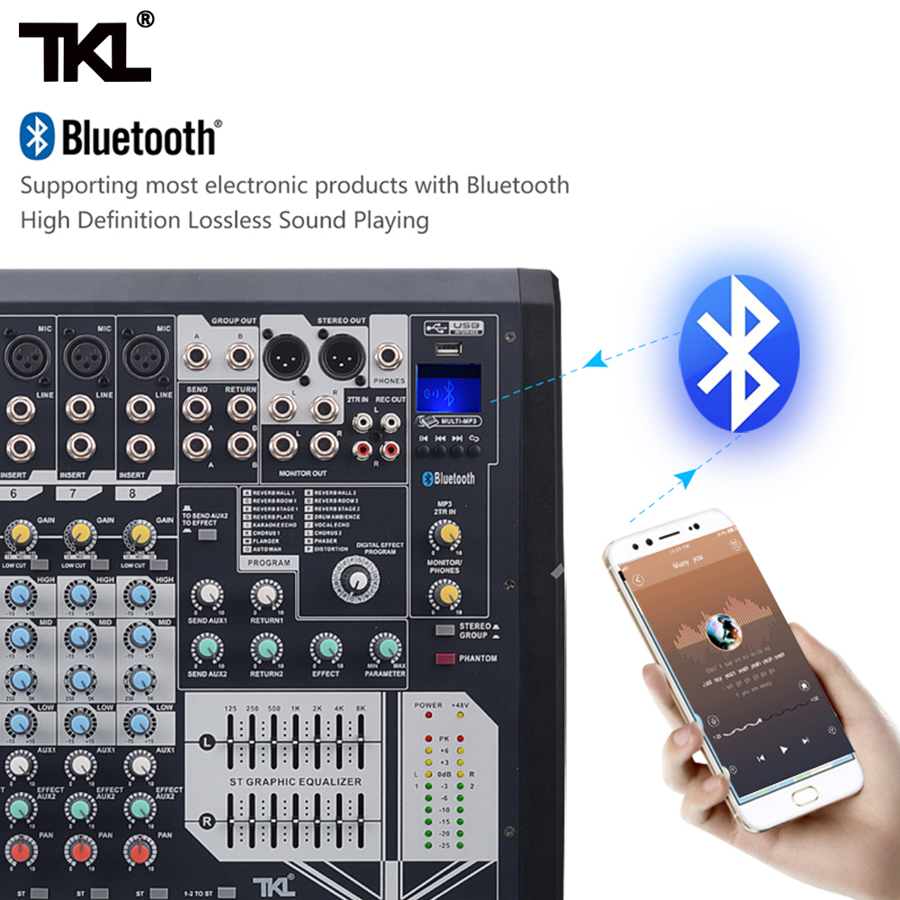 TKL GLSD 8 kanałowy 12 kanał 16 kanał miksery procesory efektów pogłosu mikser cyfrowy DJ urządzenie bluetooth usb na etapie