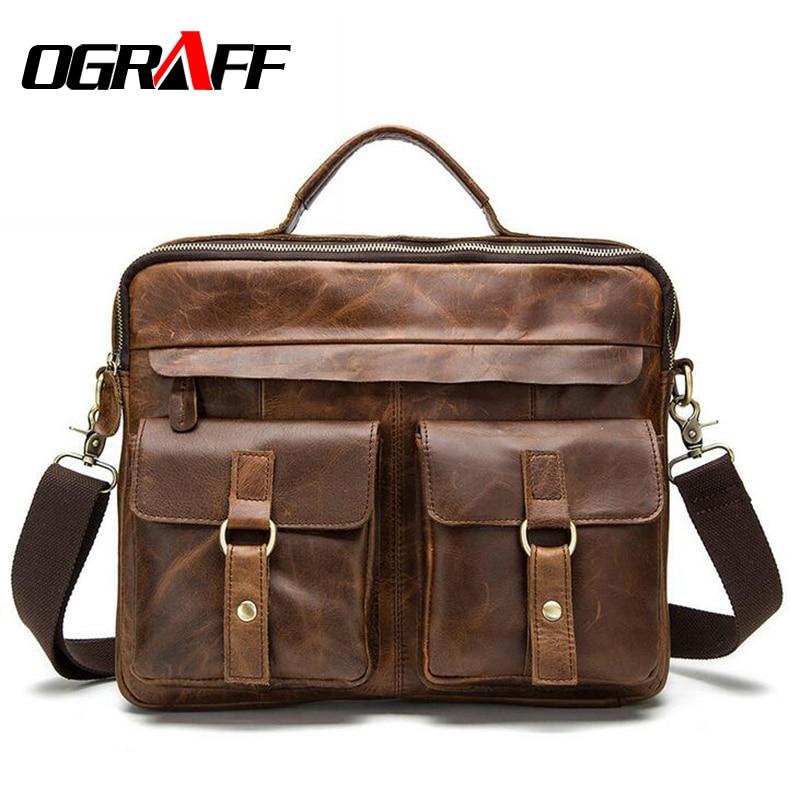 OGRAFF Genuine Leather Bag Men Messenger Bags Handbag Briescase Business Men Shoulder Bag High Quality 2018