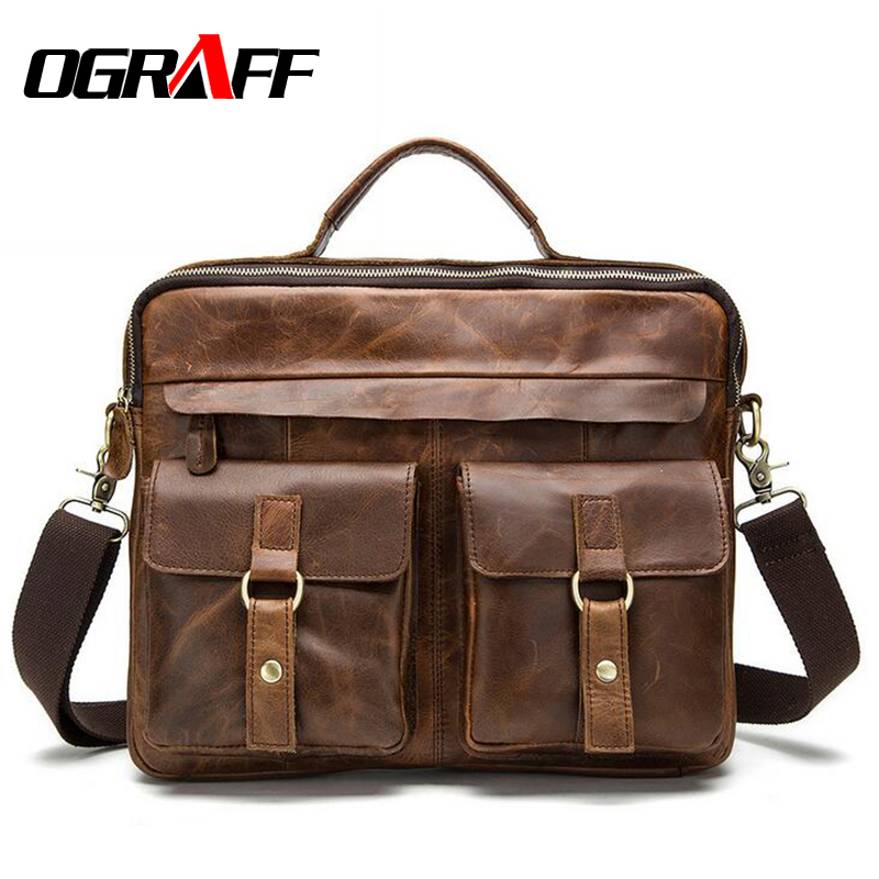 OGRAFF Genuine leather bag designer handbags high quality Cowhide tote briefcases brand business crossbody bag men messenger bag plywood