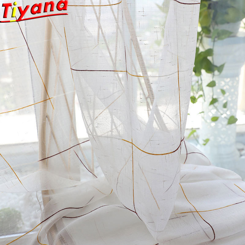 Modern Brown Plaid Voile Curtains For Living Room Chiffon Curtains Tulle For Bedroom Cafe Hotel Practical Customizable W-M053