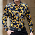 2017 Playeras Hombre Floral Print Shirts Gold Flower Shirts Luxury Chemise Homme Marque Luxe Trendy Mens Club Outfits Camicia