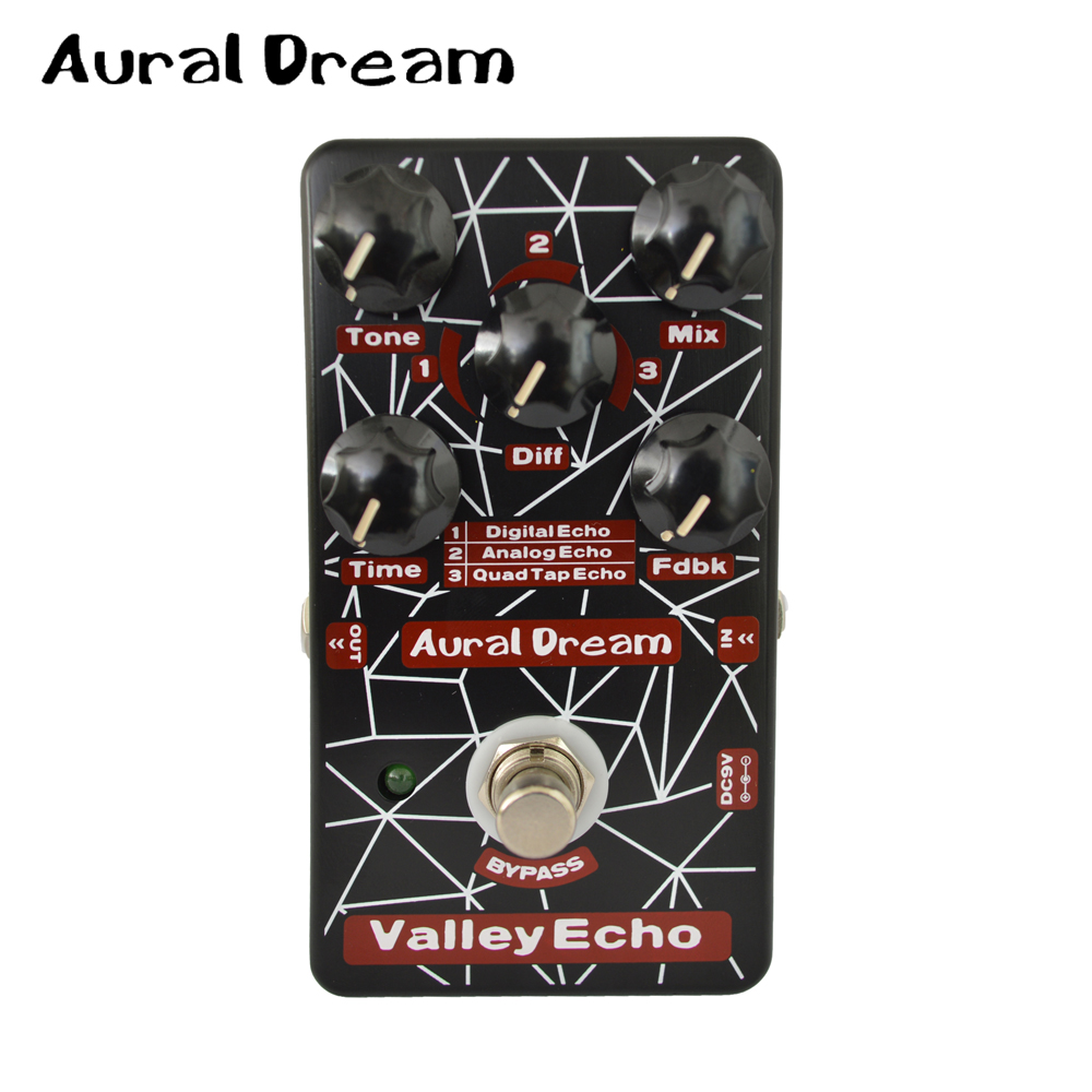 Aural Dream Valley Echo Electronic Guitar Effects Padel with 3 Models of Echo and True Bypass