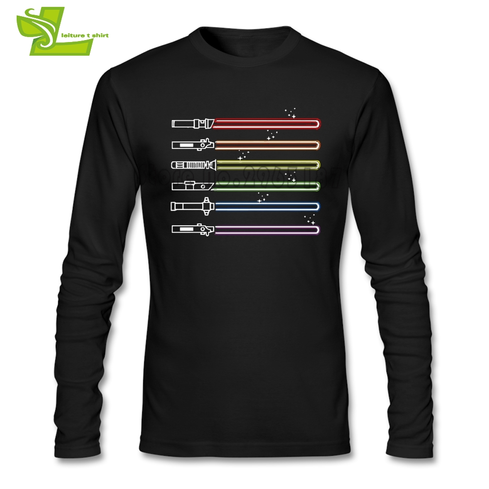 LGBT Swords Light Saber Star Wars T Shirt Man Long Sleeve Novelty Tee Male Tshirts Comfortable Guys Tee Shirts Lightsaber
