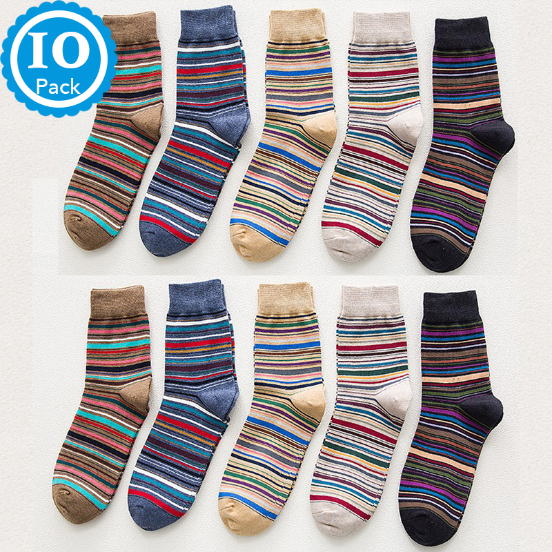 10 Pairs Set Man Crew Socks Colorful Striped Happy Socks Male Cotton Comfort Dress Casual Gift England Big Size Women Socks Soks