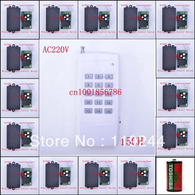 Code d'apprentissage 15CH système de commutateur de télécommande sans fil chaque CH est indépendant 10A bascule/LED momentané sur interrupteur sans fil