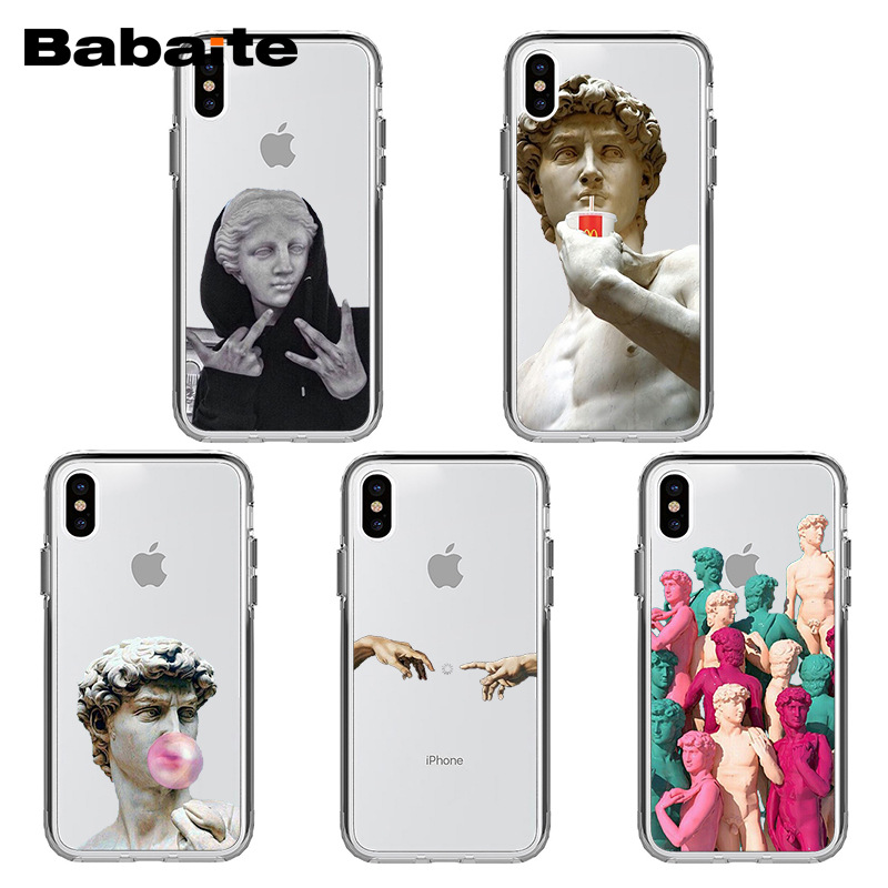 Babaite Alternative Statue Art Pattern Custodia rigida per cellulare TPU per iPhone 8 7 6 6 S Plus X Xs Xr Xs Xax 5 5 X X XUMUM 5S