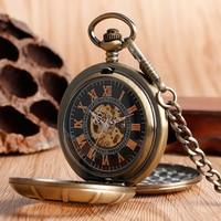 Men Women Antique Archaic Double Open Hunter Caring Pocket Watches Transparent Mechanical Hand Wind Clock