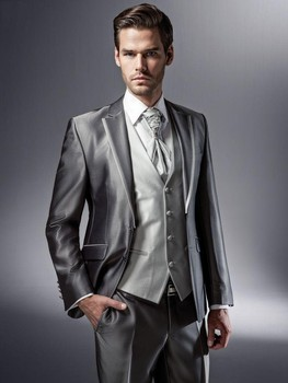 New Arrival Groom Tuxedos Shiny Grey Groomsmen Notch Lapel Wedding/Dinner Suits Best Man Bridegroom (Jacket+Pants+Tie+Vest) B571