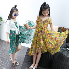 Toddler Girls Dress Summer 2019 Fashion Kids Sling Floral Beach Dress Children's Princess Bohemian Dresses Clothes 5 7 8 12 Year 2018 new fashion girls summer dress sets strapless patchwork kids summer clothes for 5 12 year 7 seconds fish brand