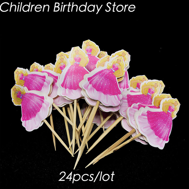 24pcs Lot Barbie Cake Topper Theme Birthday Party Decorations Girl Cupcake Toppers Supplies